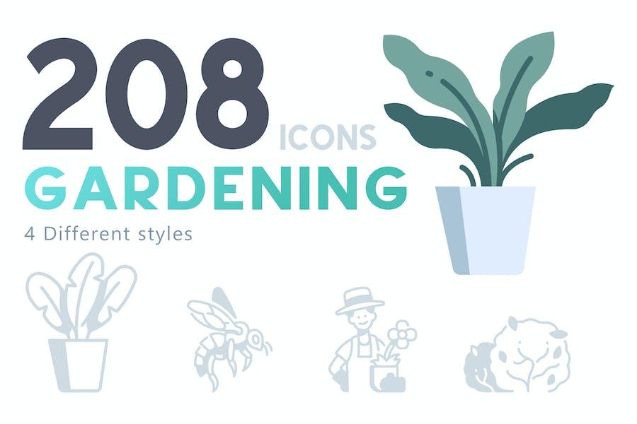 208 Gardening icon set