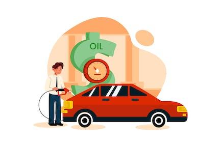 Businessman fueling car from Dollar pump