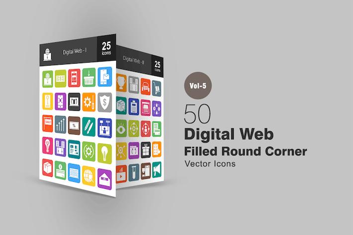 Thumbnail for 50 Digital Web Flat Round Corner Icons