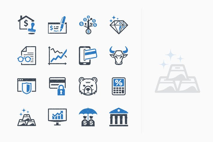 Blue Personal & Business Finance Icons - Set 1