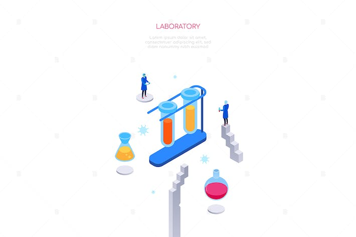 Thumbnail for Medical laboratory - colorful isometric web banner