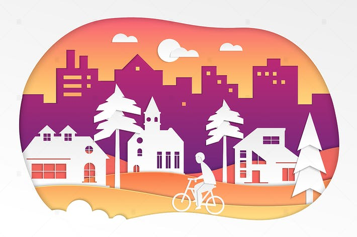 Thumbnail for Urban landscape - vector paper cut illustration
