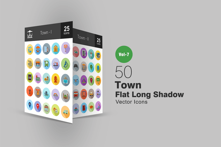Thumbnail for 50 Town Flat Shadowed Icons