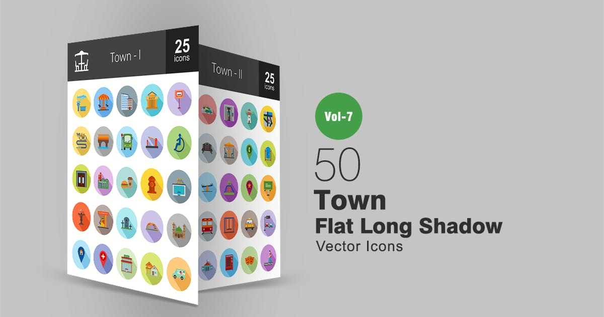 Download 50 Town Flat Shadowed Icons by IconBunny