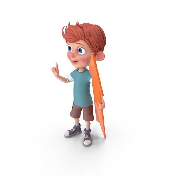 Cartoon Boy Charlie Holding Pointer
