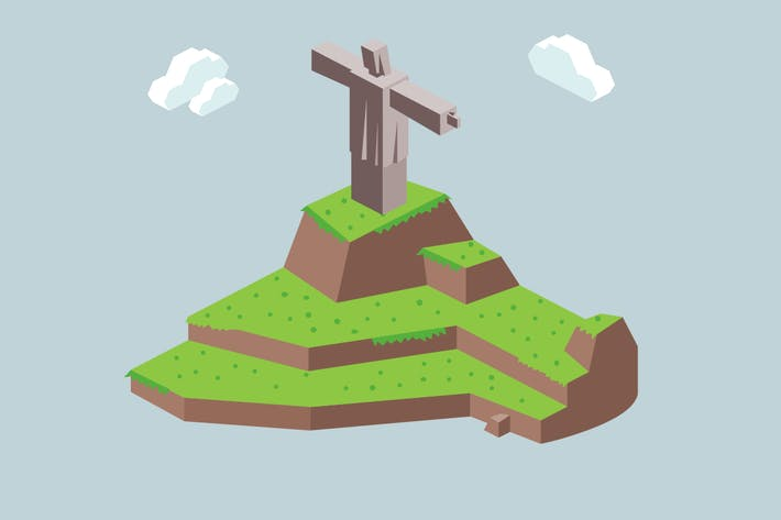 Thumbnail for Christ the Redeemer Rio in isometric vector