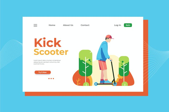 Cover Image For Kick Scooter Landing Page Illustration