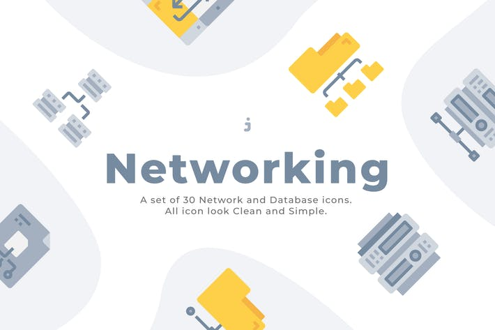 Thumbnail for 30 Network and Database Icons - Flat