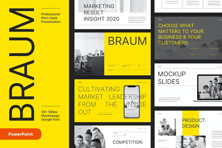 Thumbnail for BRAUM - Business Pitch Deck Powerpoint Template