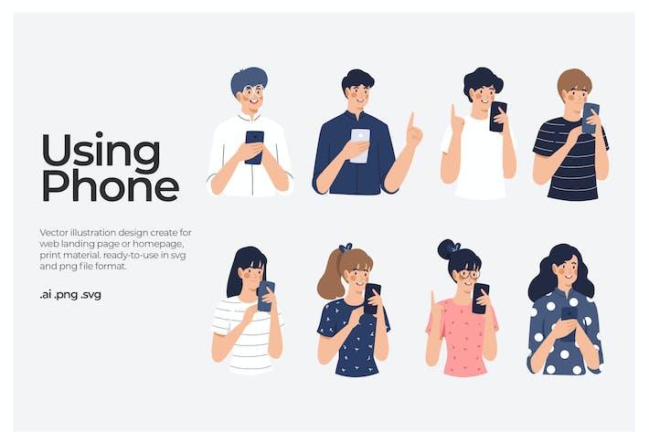 Menschen, die Smartphone nutzen - Abbildung