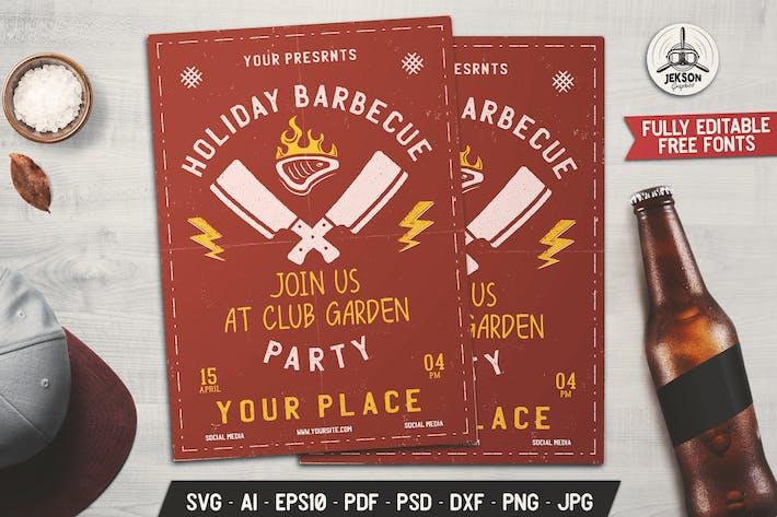 Barbecue Garden Party Flyer. Summer BBQ Brochure