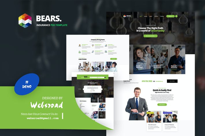 Thumbnail for Bear's - Insurance PSD Template