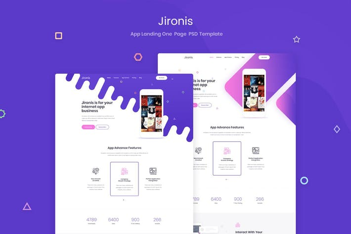 Thumbnail for Jironis - App Landing One Page PSD Template