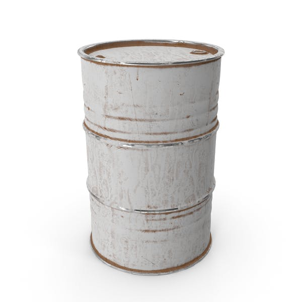 Metal Barrel Painted White