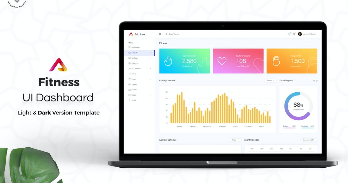 Download Fitness Admin Dashboard UI Kit by VictorThemes