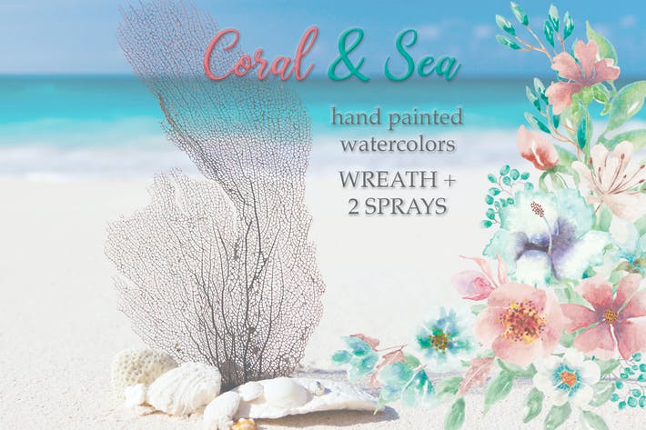 "Thumbnail for ""Coral and Sea"": Watercolor Wreath and Bouquets"