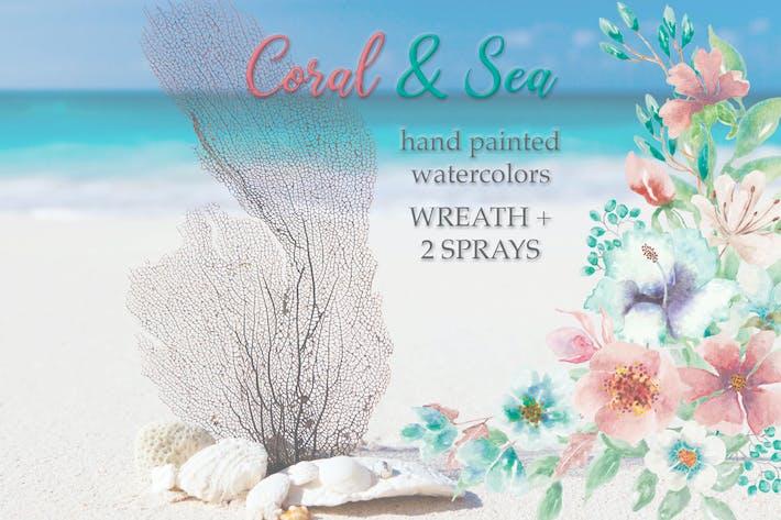 «Corail et Mer»: Couronne d'aquarelle et bouquets