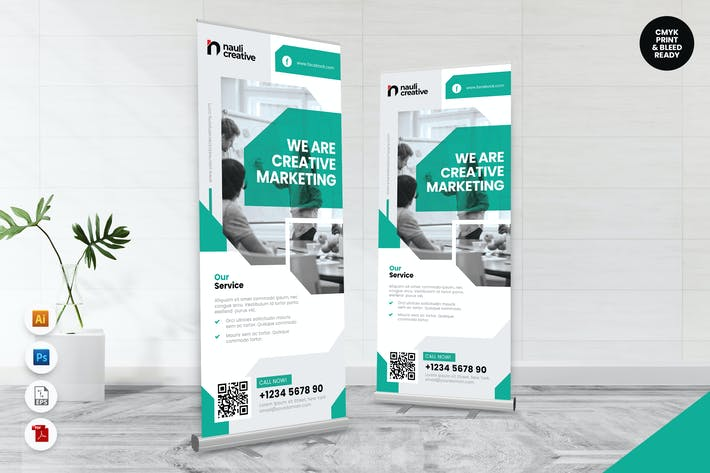 Thumbnail for Creative Roll Up Banner AI & PSD Template Vol.9