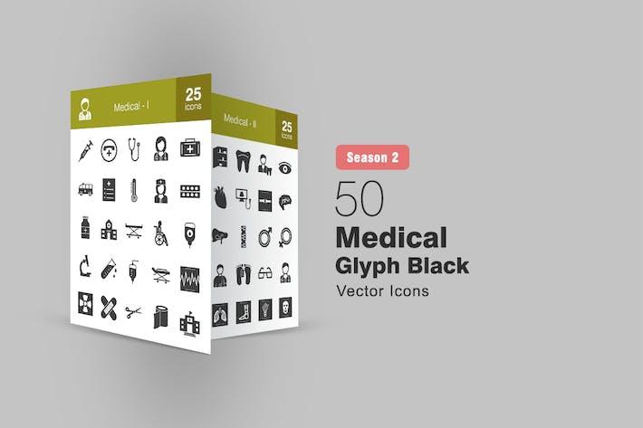 50 Medical Glyph Icons Season II