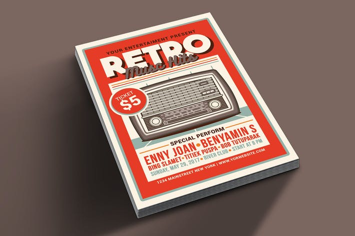 Thumbnail for Retro Music Hits Flyer