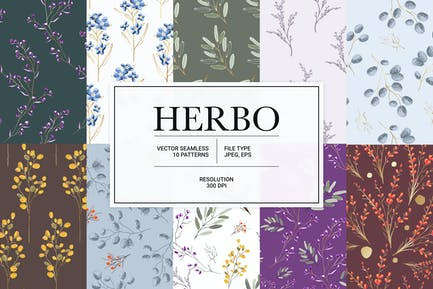 Herbo – seamless vector herbal pattern collection