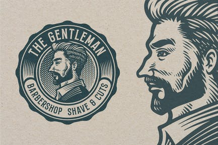 Barbershop Vintage Engraving Template Logo