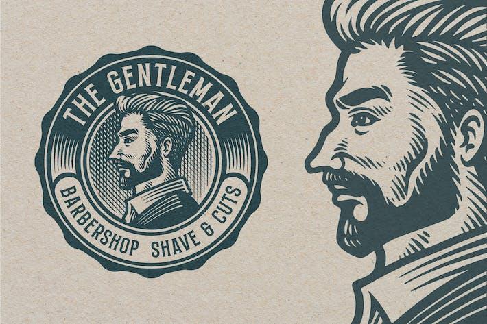 Thumbnail for Barbershop Vintage GravurVorlage Logo