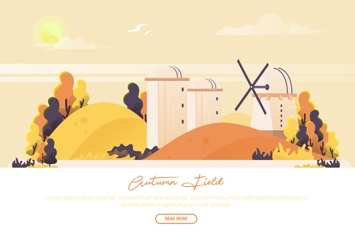 Thumbnail for Autumn Field - Vector Landscape & Building