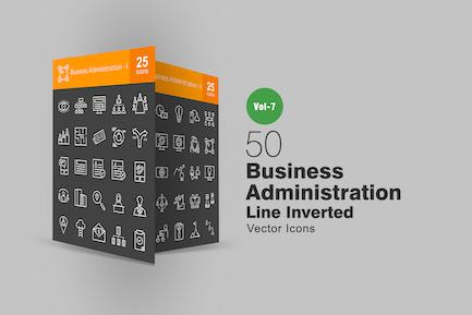 50 Íconos invertidos de línea de administración Negocios
