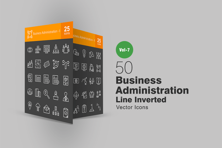 Thumbnail for 50 Business Administration Line Inverted Icons