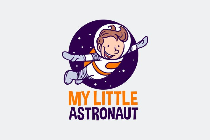 Thumbnail for Cartoon Cute Boy Astronaut Mascot Logo