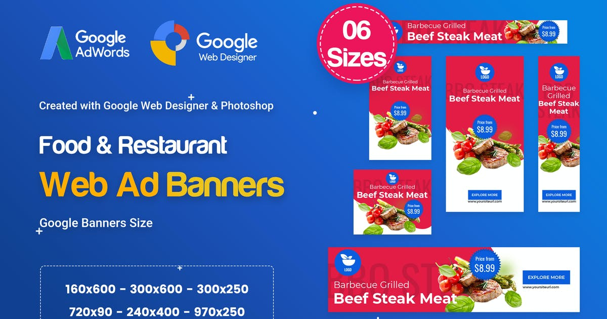 Food & Restaurant Banners HTML5 Ad D66 by iDoodle