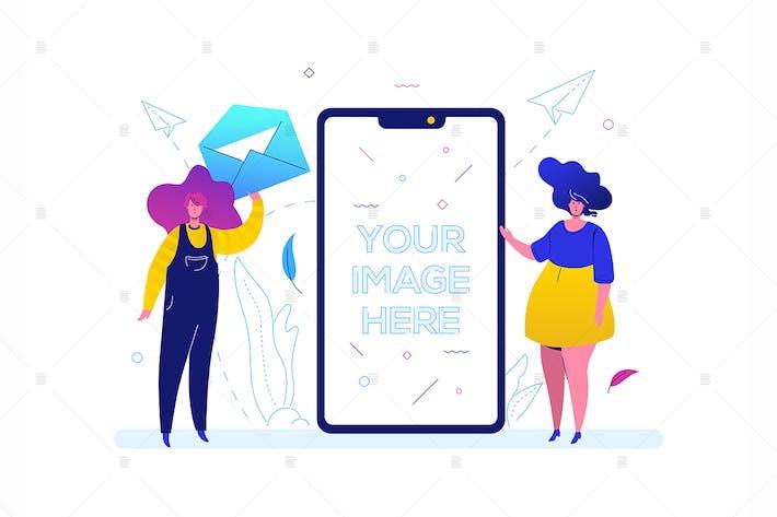 Thumbnail for Chatting online - flat design style illustration
