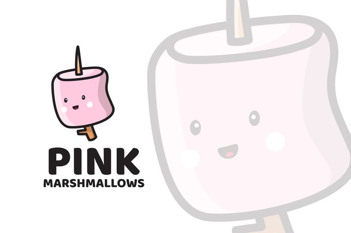 Pink Marshmallows Cute Logo Template