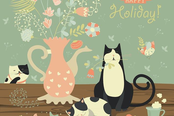 Thumbnail for Натюрморт с букетом цветов и кошек.