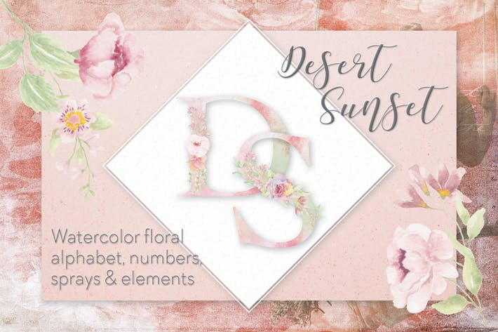 Cover Image For Desert Sunset Watercolor Alphabet