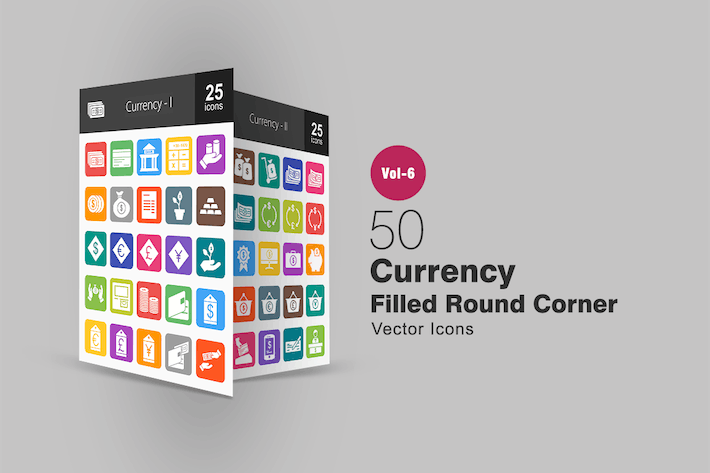 Thumbnail for 50 Currency Filled Round Corner Icons