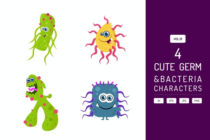 Thumbnail for Cute Germ and Bacteria Characters Vol.19