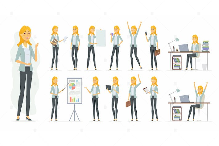 Thumbnail for Pretty businesswoman - cartoon character set