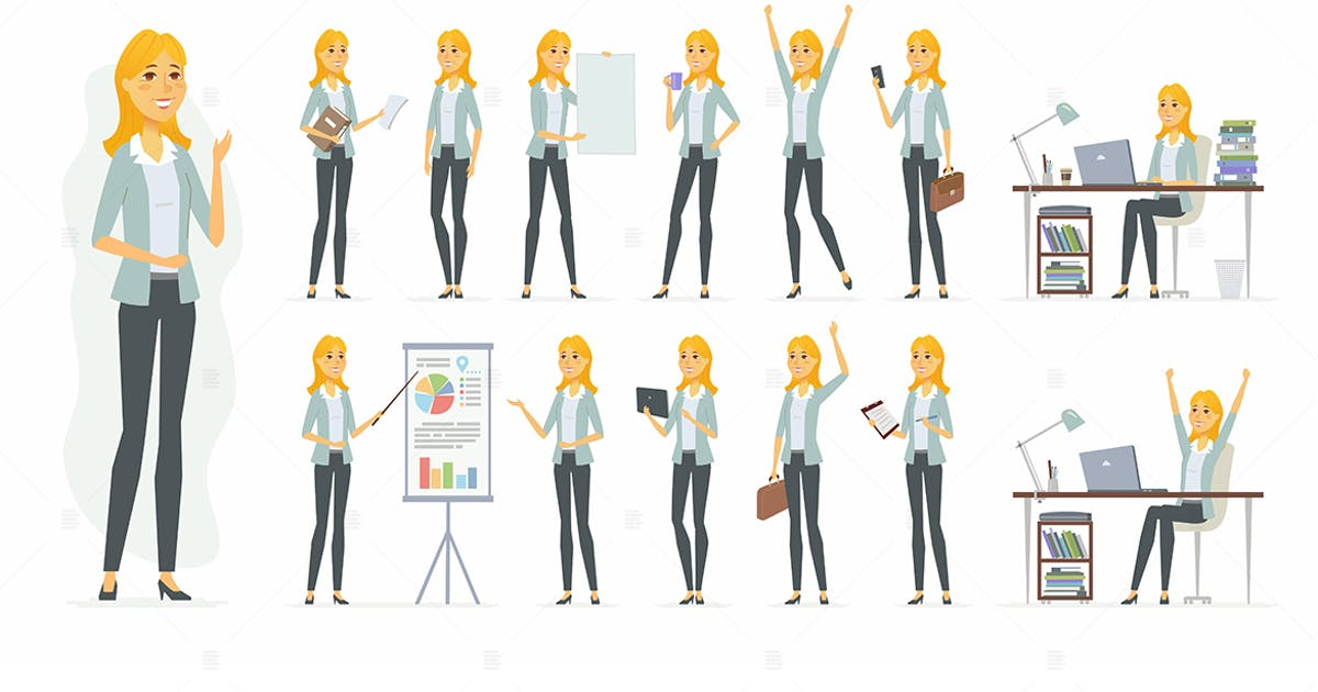 Download Pretty businesswoman - cartoon character set by BoykoPictures