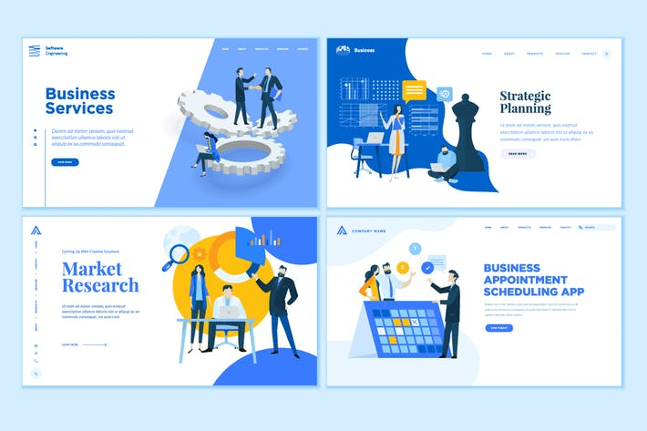 Thumbnail for Set von Business-Webseiten-EntwurfsVorlagen