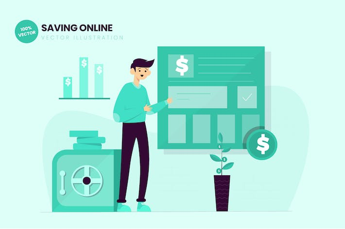Thumbnail for Saving Online Flat Vector Illustration