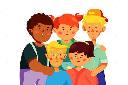 Niños preescolares felices - ilustración plana