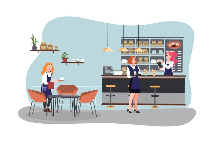Thumbnail for People working in a coffee shop