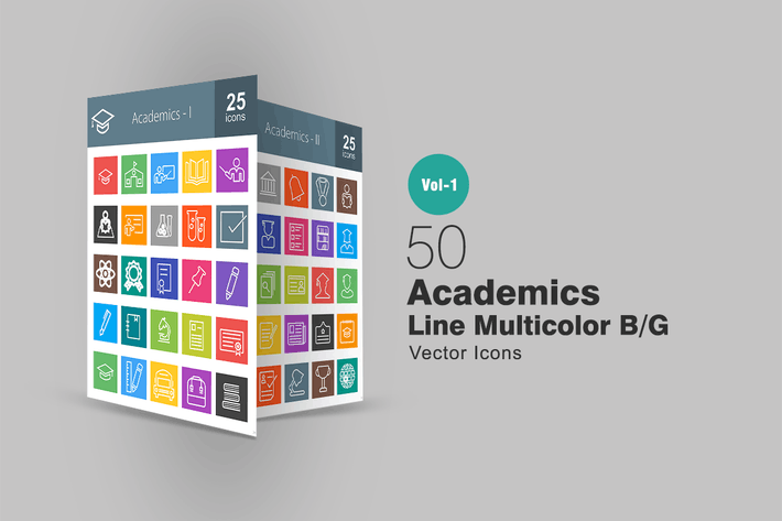 Thumbnail for 50 Academics Line Multicolor Icons