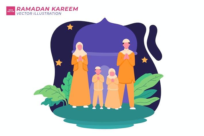 Ramadhan Kareem Flat Illustration