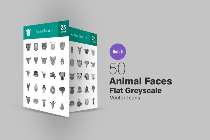 Thumbnail for 50 Animal Faces Flat Greyscale Icons