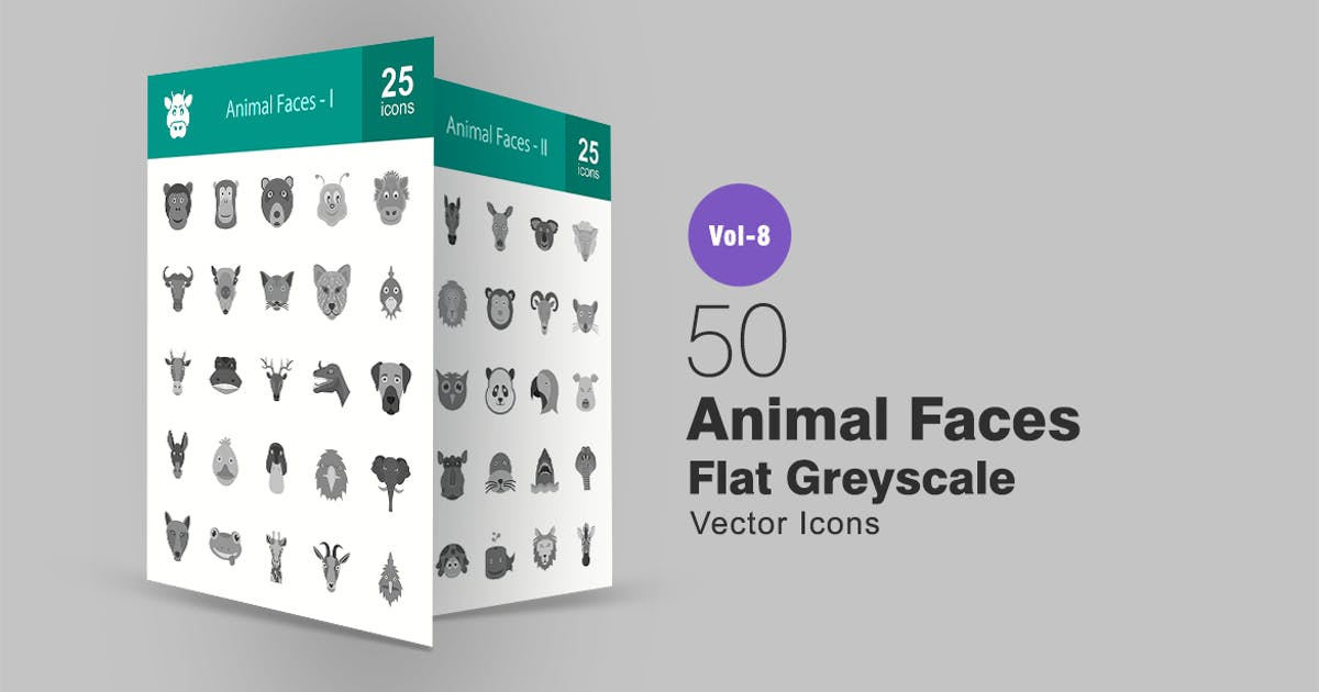 50 Animal Faces Flat Greyscale Icons by IconBunny
