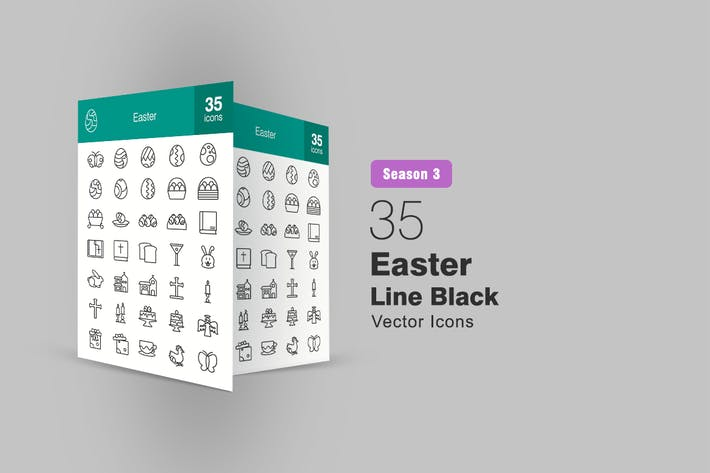 Thumbnail for 35 Easter Line Icons Season III