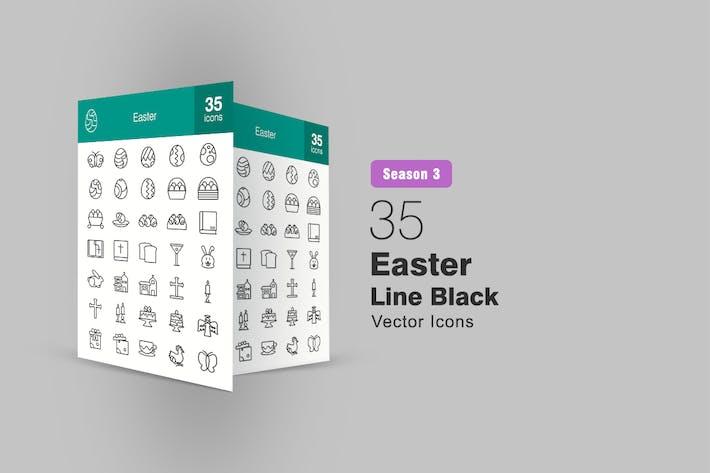 35 Easter Line Icons Season III